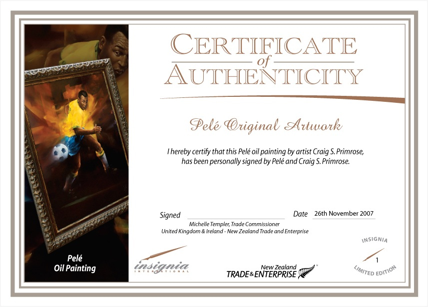 Certificate of Authenticity - Pele Painting