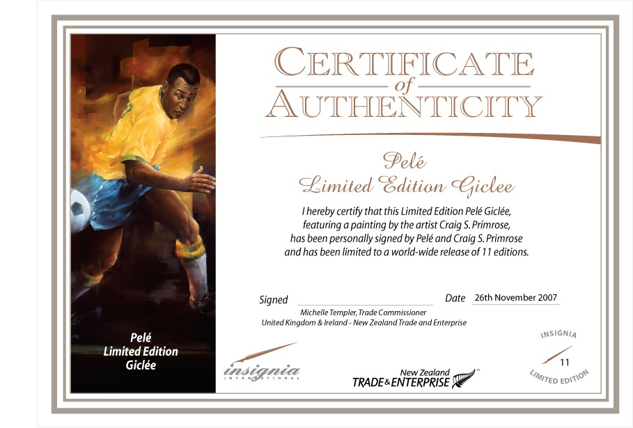 Certificate of Authenticity - Pele