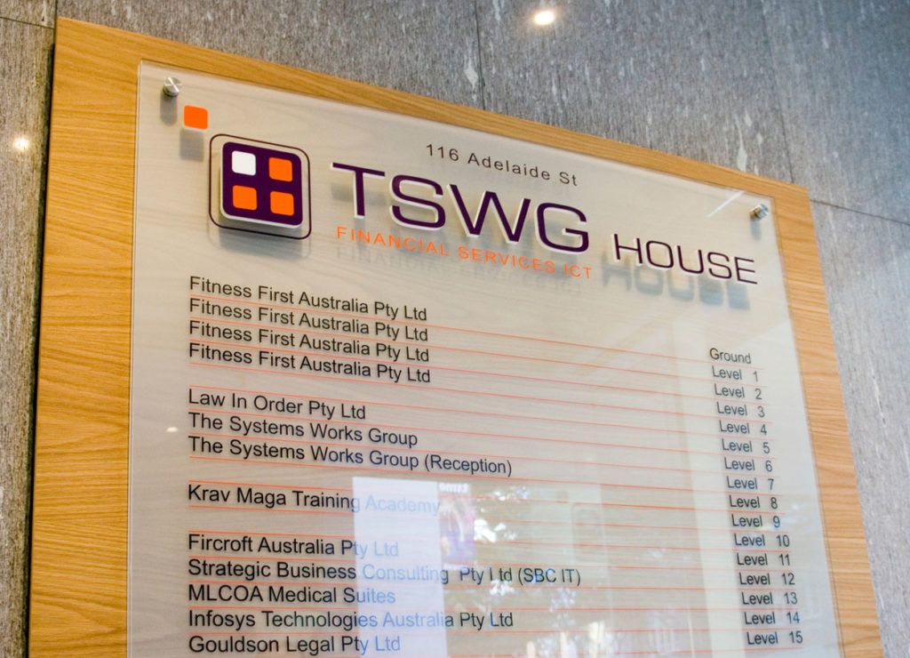 TSWG Finacial Services - Directory Sign
